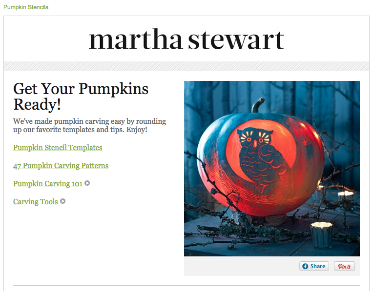 Newsletter Halloween - Martha Stewart