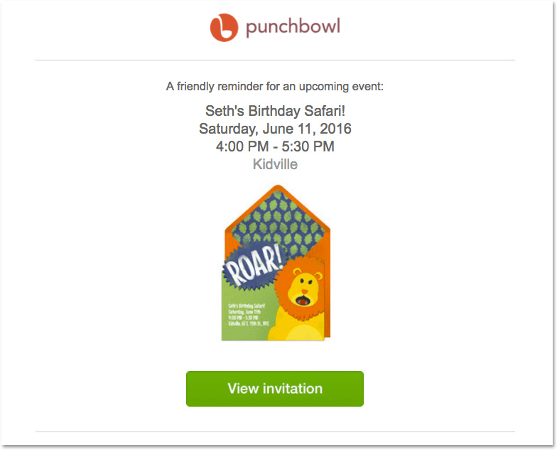 Email evento: l'esempio di Punchbowl
