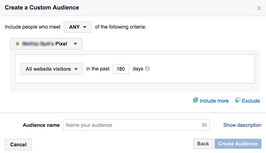 Crea nuova audience