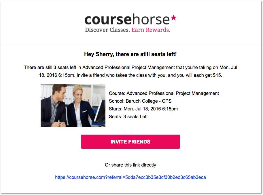 Email evento: l'esempio di CourseHorse