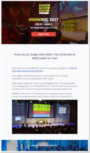 Email evento: l'esempio di Social Media Week