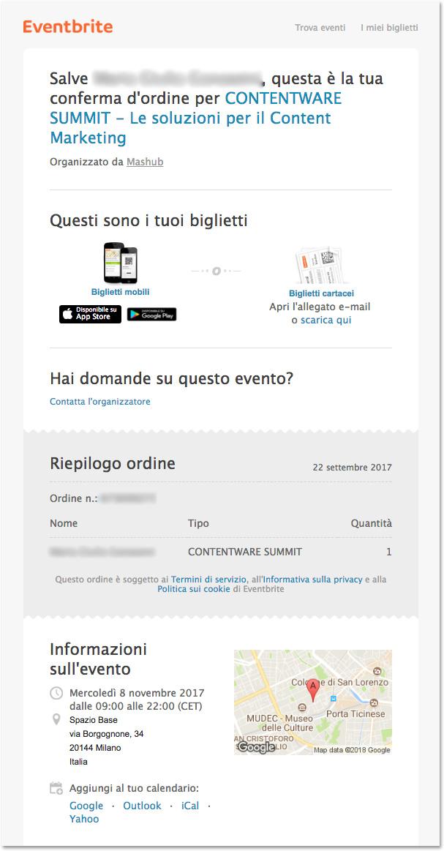 Email evento: Eventbrite