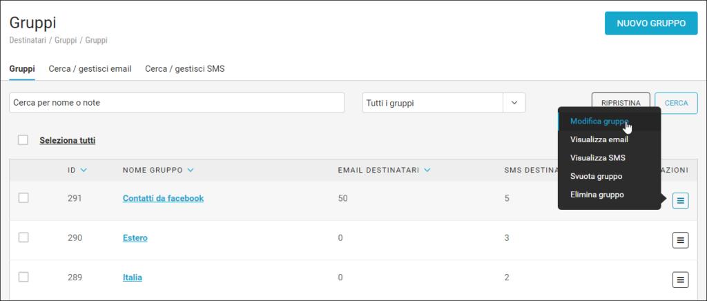 I gruppi nella piattaforma MailUp