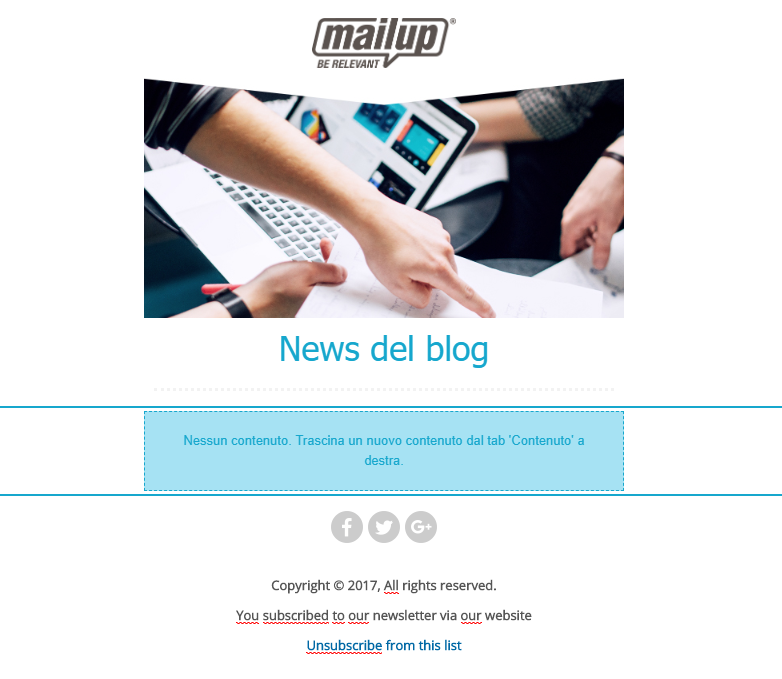 Il template dell'email