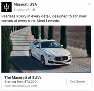 L'annuncio su Facebook di Maserati