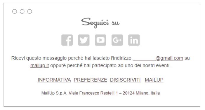 Il footer delle email di MailUp