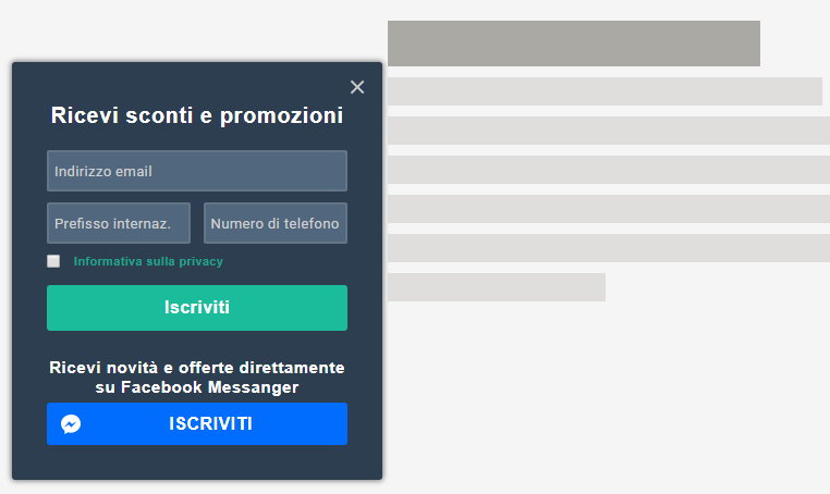 L'anteprima di un pop-up form multicanale