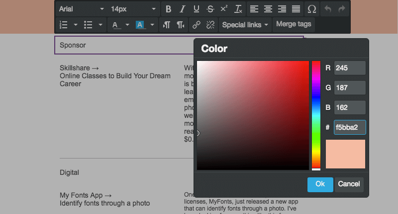 Personalizza i colori del testo