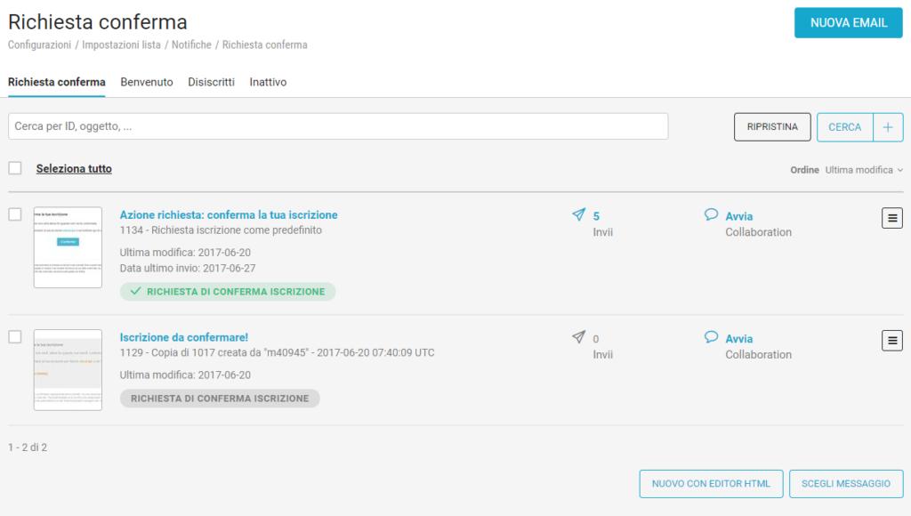 Come creare una nuova notifica in piattaforma