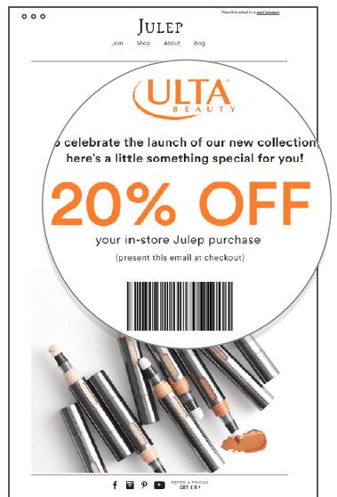 Un esempio di email con coupon stampabile