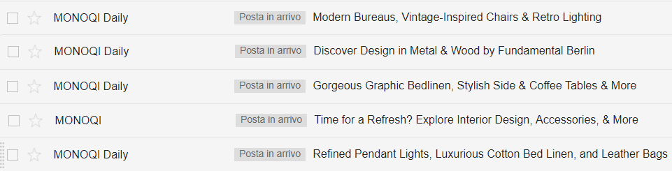 Gli oggetti delle email di Monoqi