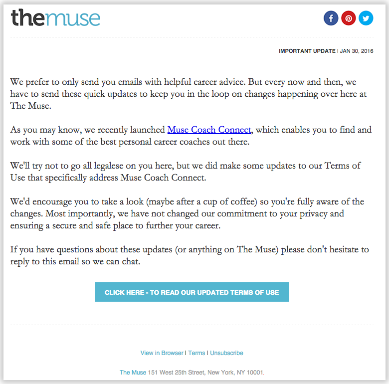 L'email di The Muse