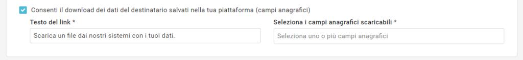 L'opzione che consente il download dei dati