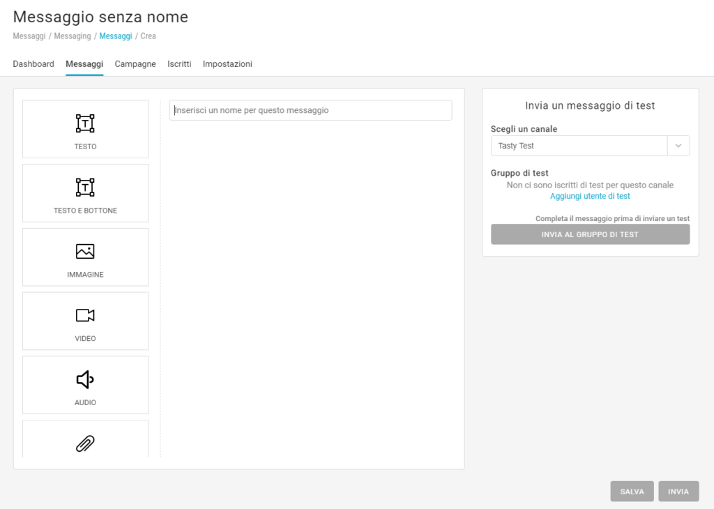 Come creare un messaggio con Messaging Apps