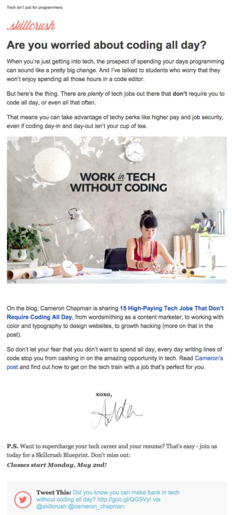 L'email di Skillcrush