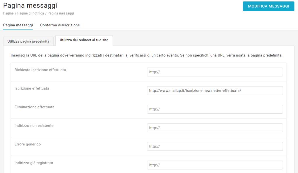La funzione di redirect in MailUp