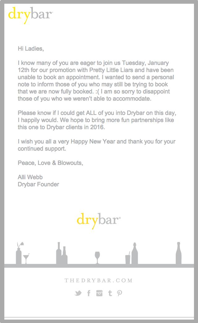 L'email di Drybar