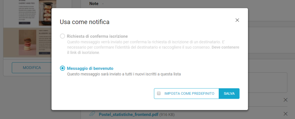 Gestire proprietà del messaggio di notifica
