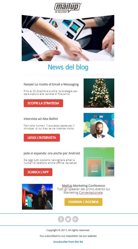 L'email con i contenuti di più sorgenti