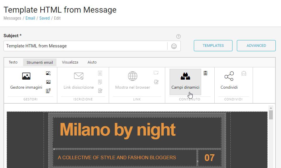 La nuova interfaccia dell'editor HTML