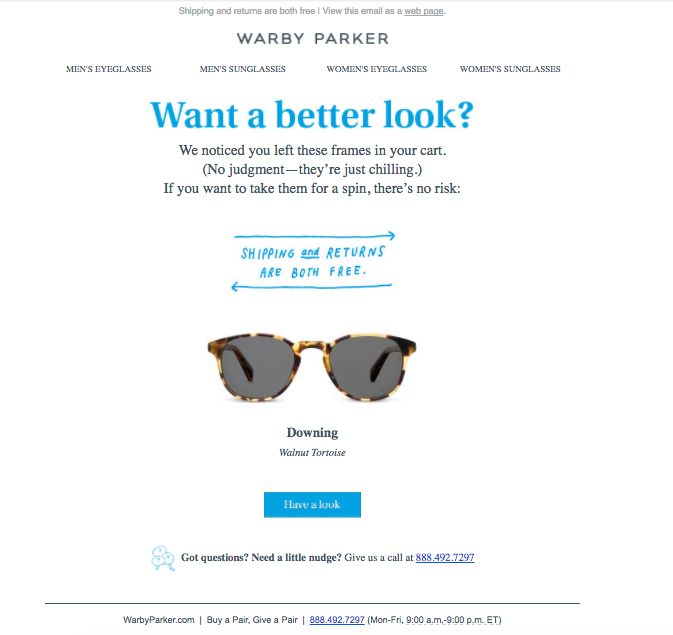 L'email di Wabby Parker