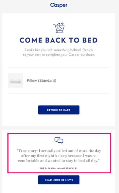 L'email di carrello abbandonato di Casper