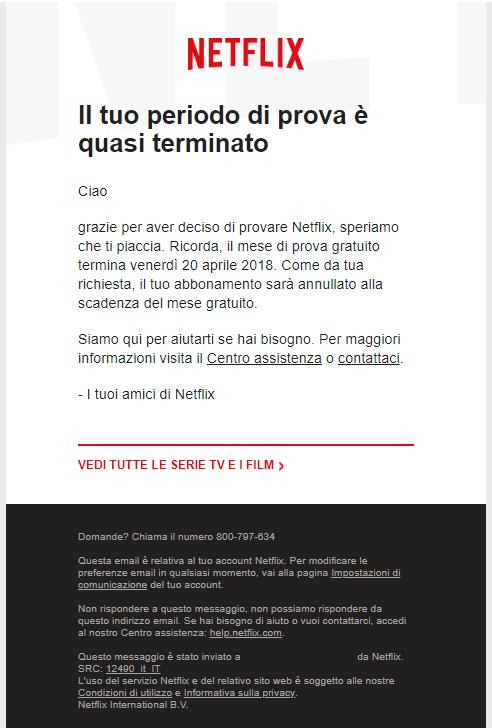 Il reminder di scadenza account di Netflix