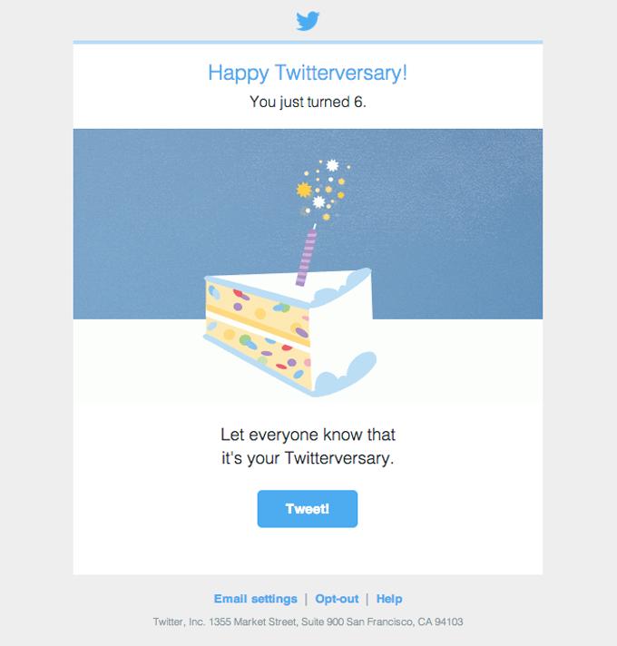 Email anniversario Twitter