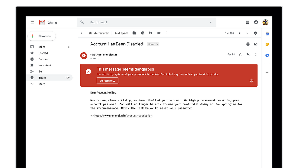 Le notifiche antiphishing di Gmail
