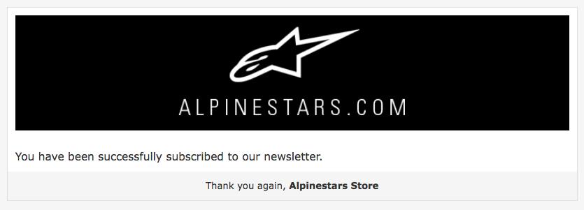 L'email di conferma iscrizione di Alpinestars