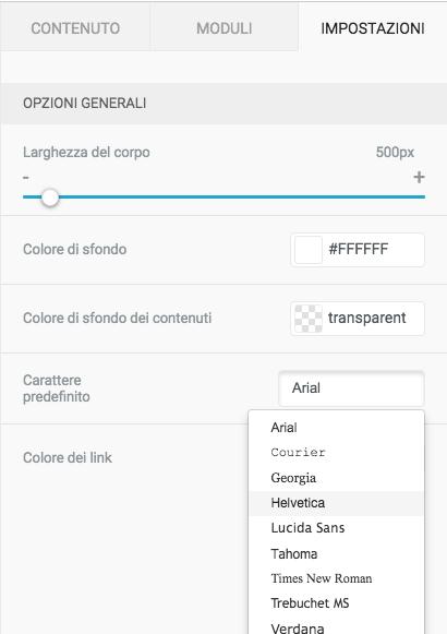 Scegli il font