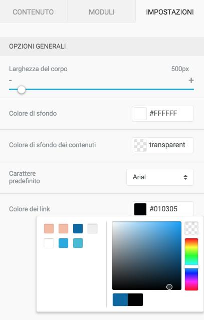 Formatta il colore dei link