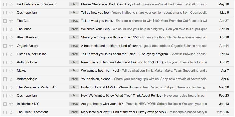 Alcuni oggetti di email di sondaggio