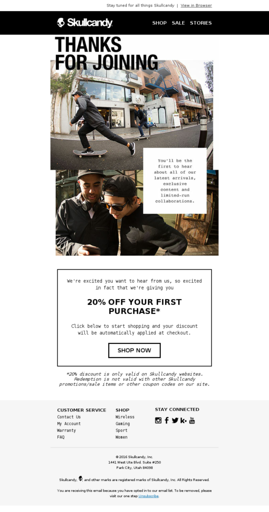 La welcome email di Skullcandy