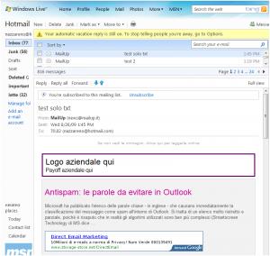 Email con annuncio AdSense inserito