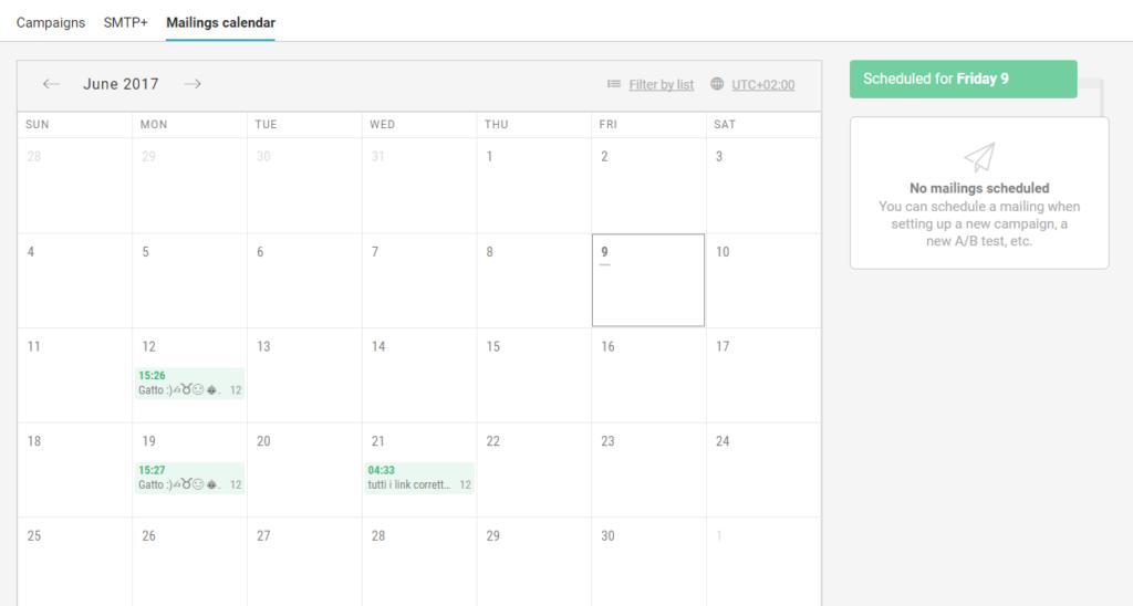 Calendario degli invii