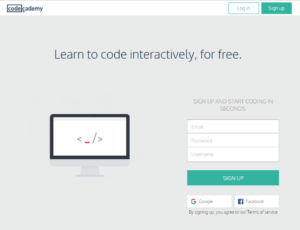 Esempio landing page Codeacademy