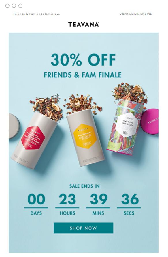 Il countdown nell'email di Teavana