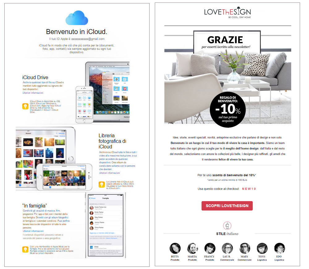 email benvenuto icloud lovethesign mailup