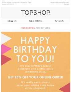 Email di buon compleanno: Topshop