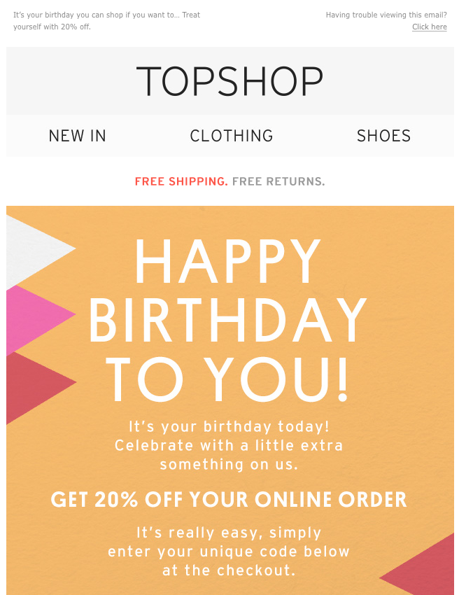 Email di buon compleanno: Topshop