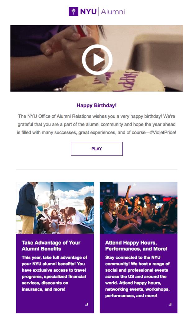 Email di compleanno interattiva
