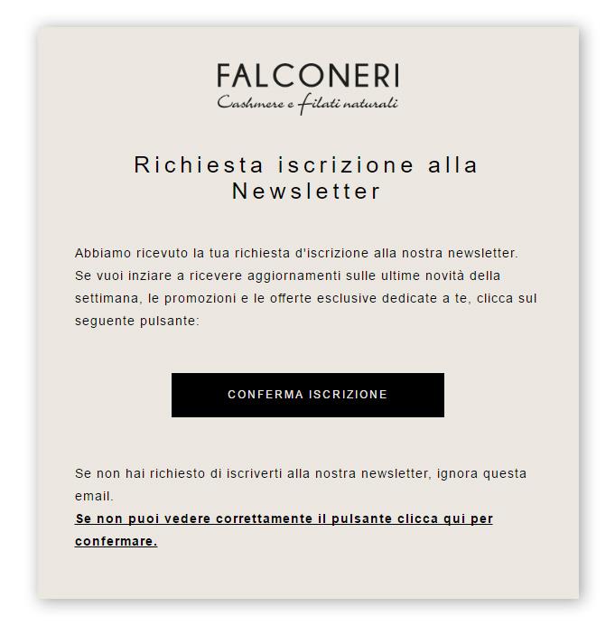 Email conferma iscrizione Falconeri