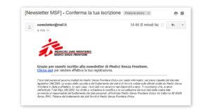 Email conferma iscrizione alla newsletter