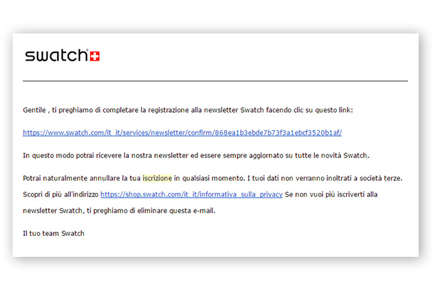 Email conferma iscrizione Swatch