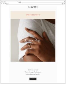 Email design bulletproof: Mejuri