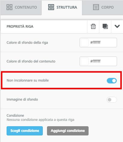 La funzione per non incolonnare i contenuti su mobile