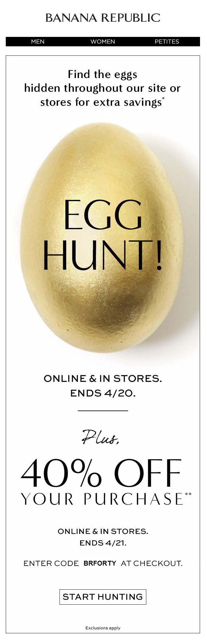 Egg hunt Banana Republic