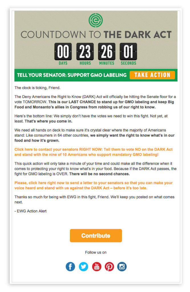 EWG timer email Mailup