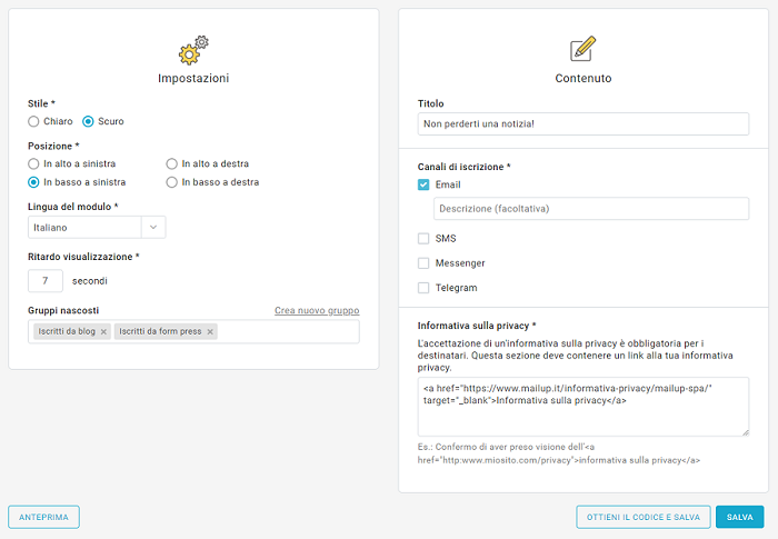 Le nuove funzioni dei form pop-up
